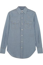 Saint Laurent Polka Dot Cotton Chambray Shirt Light Denim