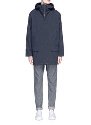 Paul Smith Water Resistant Cotton Blend Twill Pullover Parka Blue