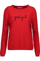 Chinti And Parker Good Girl Intarsia Cashmere Sweater Red