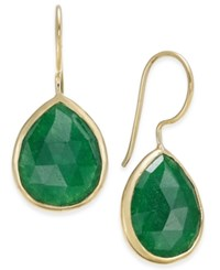 Paul And Pitu Naturally 14K Gold Plated Green Quartz Teardrop Earrings