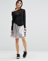 Minimum Moves Tylle Metallic Skater Skirt Silver