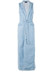 Andrea Ya'aqov Sleeveless Denim Trench Coat Women Cotton S Blue