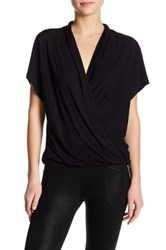 David Lerner Low Cut Surplice Short Sleeve Shirt Black