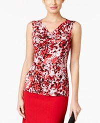 Kasper Printed Drape Neck Top Fire Red Multi