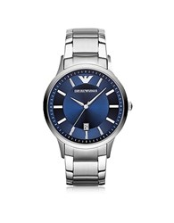 Emporio Armani Silver Tone Stainless Steel Men's Watch W Blue Dial