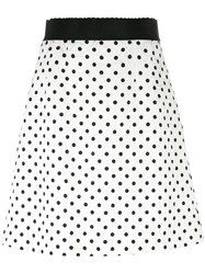 Dolce And Gabbana Polka Dot Brocade Skirt White