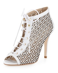 Etienne Aigner Perforated Lace Up Bootie White