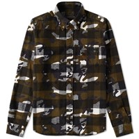 Sophnet. Camouflage Flannel Check Shirt White