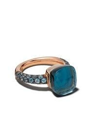 Pomellato 18Kt Rose And White Gold Nudo Topaz And Turquoise Ring Blue