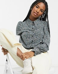 Monki Floral Print Puff Sleeve Elongated Collar Blouse In Multi