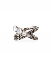 Bavna Silver Moonstone And Diamond X Ring