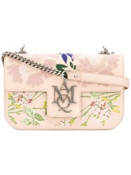 Alexander Mcqueen Floral Embroidered Shoulder Bag Women Cotton Leather One Size Pink Purple