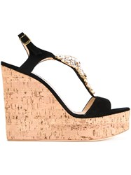 Giuseppe Zanotti Design Embellished Wedge Sandals Black