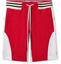 Greg Lauren Grosgrain Trimmed Tech Jersey Drawstring Shorts Red