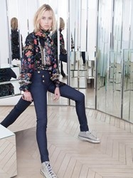 Alexis Mabille Sailor Style Slim Pants In Stretch Denim Blue
