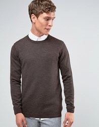 Asos Merino Wool Crew Neck Jumper Brown Brown