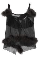 Maison Martin Margiela Feather Trimmed Cutout Mesh Top Black