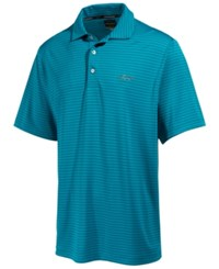 Greg Norman For Tasso Elba Men's 5 Iron Striped Performance Polo Only At Macy's Teal
