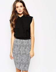 Reiss Paige Sleeveless Shirt With Pockets Black