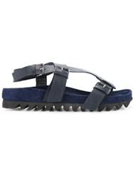 Dion Lee Buckle Flat Sandals Calf Leather Blue