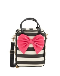 Betsey Johnson Insulated Leatherette Bow Lunch Tote Black White Pink