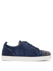 Christian Louboutin Louis Junior Studded Suede Trainers Navy
