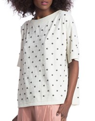 Plenty By Tracy Reese Studded Textured Sweatshirt White