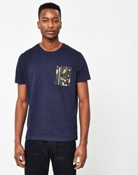 The Idle Man Crew Neck T Shirt With Camo Pocket Navy