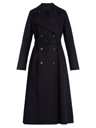 The Row Frenton Double Breasted Stretch Cotton Coat Navy