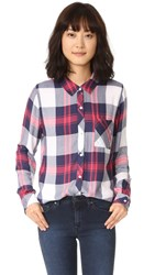 Rails Hunter Button Down Shirt White Indigo Blush