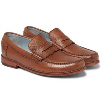 Grenson Ashley Pebble Grain Leather Penny Loafers Brown