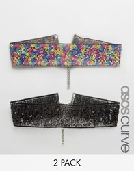 Asos Curve Pack Of 2 Confetti Sequin Chokers Multi
