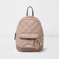 River Island Womens Pink Mini Quilted Backpack
