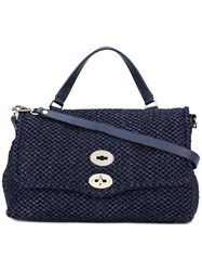 Zanellato Flip Lock Fold Over Tote Blue
