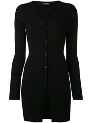 Twin Set Long Ribbed Cardigan Women Polyester Viscose L Black