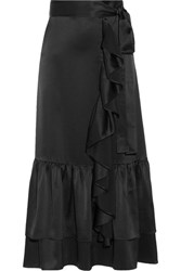 Co Ruffle Trimmed Tiered Satin Midi Skirt Black