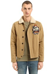 Kent And Curwen Wick Cotton Jacket W Faux Shearling Beige