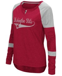 Colosseum Washington State Cougars Routine Long Sleeve T Shirt Cardinal Red