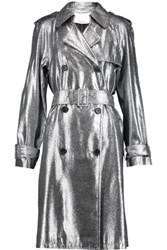 3.1 Phillip Lim Metallic Lam And Eacute Trench Coat Silver