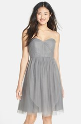 Women's Jenny Yoo 'Wren' Convertible Tulle Fit And Flare Dress Sterling Grey