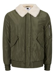 Topman Khaki Faux Fur Lined Flight Jacket
