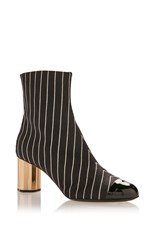 Marco De Vincenzo Striped Boot Black White