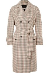 Maje Prince Of Wales Checked Twill Trench Coat Beige
