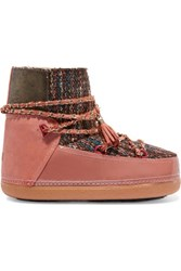 Inuikii Chain Trimmed Boucle Suede And Leather Ankle Boots Coral