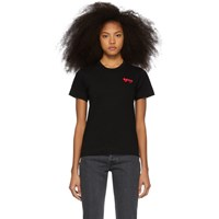 Comme Des Garcons Play Black And Red Double Hearts T Shirt