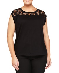 Chelsea And Theodore Plus Beaded Lace Yoke Cap Sleeve Tee Black