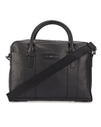 Tommy Hilfiger Black Grained Leather Briefcase