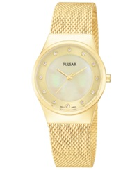 Pulsar Women's Gold Tone Stainless Steel Mesh Bracelet Watch 27Mm Ph8056 Women's Shoes