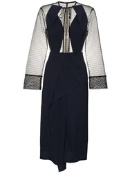 Roland Mouret Devens Sheer Dress Blue