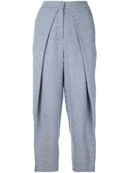 Bianca Spender Tweed Curvature Trousers Cotton Blue
